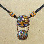 náhrdelník zlaté paví oko fimo
