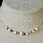 náhrdelník s hematitem a říčními perlami