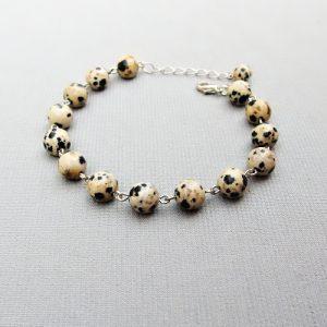 naramek s jaspisem dalmatin na retizku