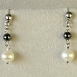 náušnice hematit perly
