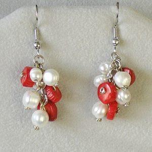 nausnice ricni perly a cerveny koral morsky